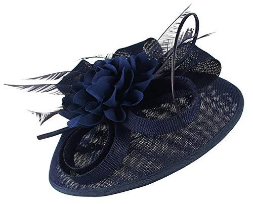 DEMU Fascinator hoed bruiloft bruid dames elegante fascinators cocktail thee party Eén maat donkerblauw