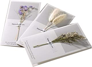 3PCS Beautifully Blank DIY Invitation Cards Birthday Greetings Cards Blessing Festival Cards Mother's Day Wish Cards(Lover Grass)