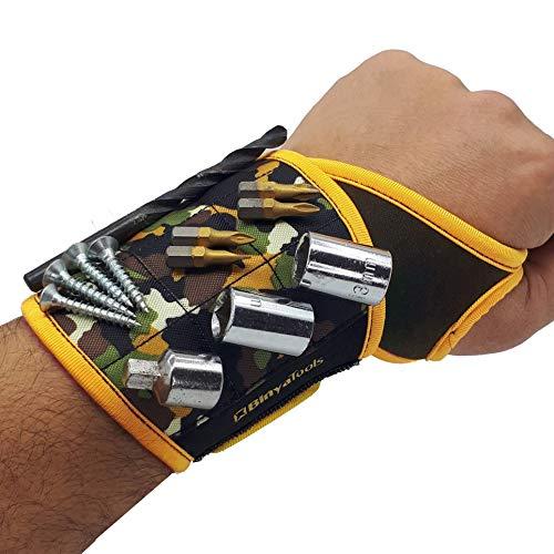 BinyaTools Pulseira magnética – Camuflada – Com ímãs super fortes que seguram parafusos, pregos, brocas. Design exclusivo de suporte de pulso para pais, namorados, faz-tudo, eletricista