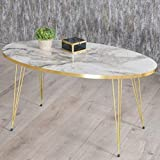 Derin Table basse | Aspect marbre | Blanc | Gris | Design de luxe | Doré | Tables de salon en marbre | Tables de salon...
