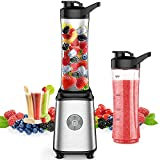 Smoothie Blender, Single Serve Blender for Smoothies and Shakes, Small Juice Blender with 2 Tritan BPA-Free 20Oz Blender Cups and Cleaning Brush