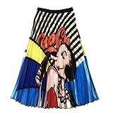 ZzheHou Faldas para Mujer Mujeres Faldas Midi Verano Ocasional de la Historieta de impresión explosión Falda Plisada Falda (Color : Azul, Size : One Size)