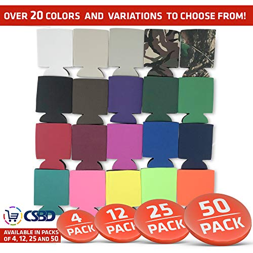 CSBD Blank Beer Can Coolers Premium Quality Soft Drink Coolies Collapsible Insulators Bulk, 12 Packs, 25 Packs, 50 Packs, Great For Monograms, DIY Projects, Weddings, Parties, Events (12, Black)