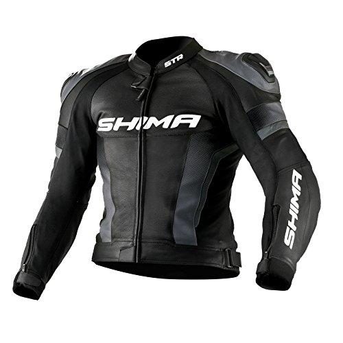 SHIMA STR JACKET BLACK, Lederkombi Motorradbekleidung Zweiteiler Motorradkombi Motorradanzug, Schwarz