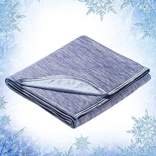 Elegear Manta de Verano para Sofá, ARC-Chill Japonesa Q-MAX 0.4 Fibra de Enfriamiento Absorbe Calor Corporal, 100% Algodón Respaldo de Verano Manta de Viaje para Cama, Sofá (Azul,)