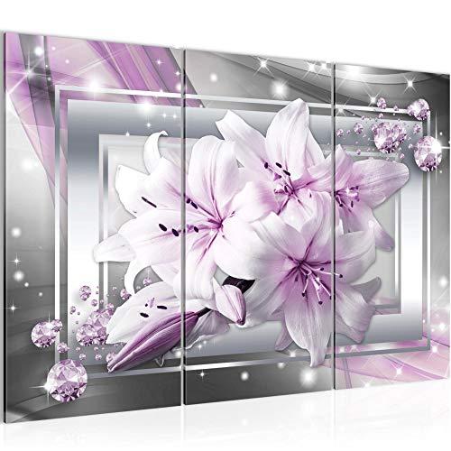 Bilder Blumen Lilie Wandbild 120 x 80 cm Vlies - Leinwand Bild XXL Format Wandbilder Wohnzimmer Wohnung Deko Kunstdrucke Violett 3 Teilig - MADE IN GERMANY - Fertig zum Aufhängen 021731b