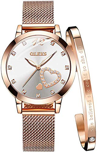 OLEVS Ladies Watches Rose Gold Stainless Steel Mesh Strap Heart Diamond Fashion Dress Japanese Quartz Waterproof Luminous Bracelet Sets (White)
