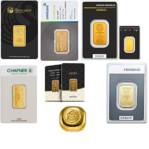 Goldbarren 10g Diverse LBMA zertifizierte Hersteller 999.9 eingeschweißt