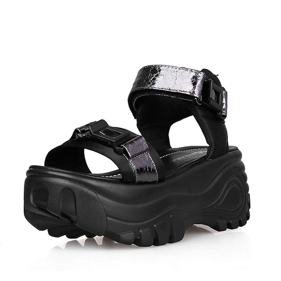 調べる大きい面白い[SENNIAN] サンダル レディース 7cmベルクロシューズ 歩きやすい おしゃれ サンダル ガンカラー スポーツサンダルプラットフォーム 軽量 24.5cm 夏 黒 簡単 美脚グラディエーターウェッジソール カジュアルかわいい