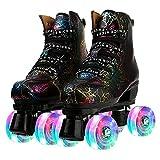 Women Roller Skates Classic High-top Outdoor Skate Roller Light-Up Four-Wheel Lightning Pattern Shiny Roller Skates for Adult Women Men with Shoe Bag (Black Flash Wheel,45=US:11)