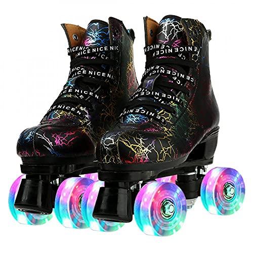 MilkyWay Unisex Roller Skates Double Row Four Wheels High-top Roller Skates Lightning Pattern for Beginners Womens Mens Boys and Girls (Black Flash Wheel,36=US Women 5=Men=3.5)
