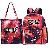 YHGTRBFC Anime Naruto que rodea la mochila de ocio al aire libre mochila grande de tres piezas + bolso + estuche de lápices-juego de polvo de estrellas 3, talla única