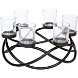Seraphic Iron Circular Table Centerpiece Candle Holder, Black, Clear Votive 6 Cups...