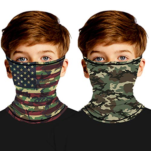 Ainuno Kids Neck Gaiter,Bandana Mask with Ear Loops Camo Face Bandana Mask Camouflage Printed Neck Gaiter Face Cover Scarf Mask for Boys Girls Fishing Sun UV Protection Dust Wind Proof Cooling,Camo L