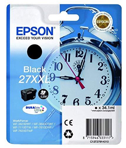 Epson Original 27XXL Tinte Wecker (WF-3620DWF WF-3640DTWF WF-7110DTW WF-7210DTW WF-7610DWF WF-7620DTWF WF-7710DWF WF-7715DWF WF-7720DTWF, Amazon Dash Replenishment-fähig) schwarz