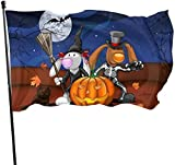 XIAYUTIAN Cute Bunny Pumpkin Broomstick Bats Halloween Themed Welcome Party Outdoor Outside Decorations Ornament Picks Home House Garden Yard Decor 3 X 5 Ft