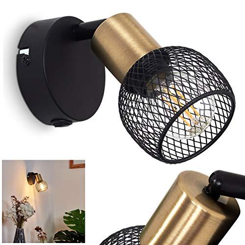 Lámpara de pared Cairns de metal negro y dorado, lámpara de habitación retro vintage, interruptor en la carcasa, 1 bombilla E14 máx. 40 W, cabezal orientable, apta para bombillas LED