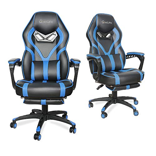 LUCKWIND Video Gaming Chair Racing Recliner - Ergonomic Adjustable Padded Armrest Swivel High Back Adult Footrest Headrest Lumbar Support PU Leather Breathable Seat Cushion Home Office (Black & Blue) chair footrest gaming
