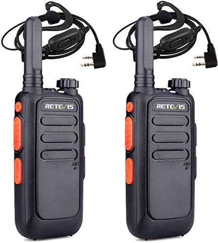 Retevis RT669 Mini Walkie Talkie, PMR446 Radio Professionale con Auricolare, USB Ricaricabile a 2 Vie Radio con VOX, TOT, Squelch per Esterni, Pesca, Campeggio (Nero, 2 Pz)