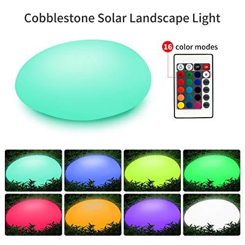 Solarlampen für Außen, TEQStone Solarleuchte Garten Steine mit 16 einstellbaren Farben, gepflasterte Gartendekor LED Solarleuchten für Rasen, Garten, Schwimmbad, Blumenbeet etc, wasserdicht IP67