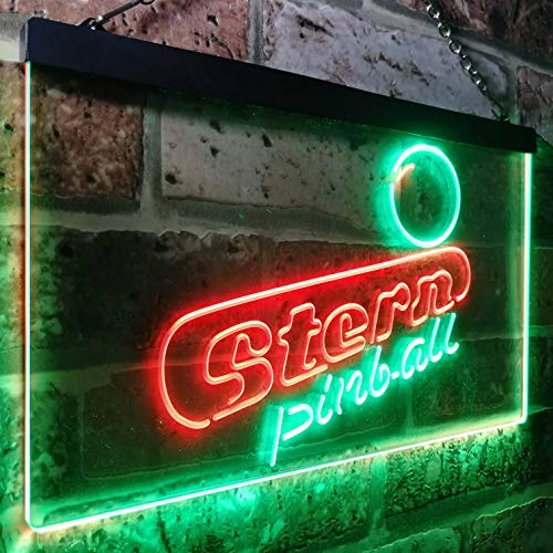 zusme Stern Pinball Game Room Man Cave Novelty LED Neon Sign Green + Red W30cm x H20cm