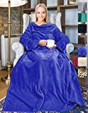 Wearable Fleece Blanket with Sleeves for Adult Women Men, Super Soft Comfy Plush TV Blanket Throw Wrap Cover for Lounge Couch Reading Watching TV 73' x 51' Blue