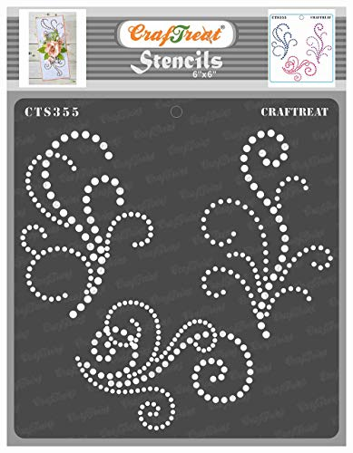 CrafTreat Dotting Floral Stencils for Painting on Wood, Canvas, Paper, Fabric, Floor, Wall and Tile - Beaded Flourish - 6x6 Inches - Reusable DIY Art and Craft Stencils - Flourish Stencil