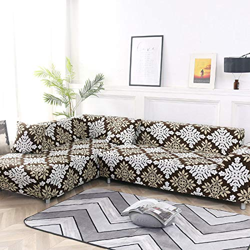 Juego de Fundas geométricas para sofá, Funda elástica para sofá, para Sala de Estar, Apto para sofá esquinero, Chaise Longue A2, 1 Plaza