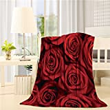 SIGOUYI Lightweight Flannel Fleece Blankets Reversible Throw Cozy Plush Microfiber All-Season Blanket for Bed/Couch - Throw 40x50 Inch, Valentines Red Roses
