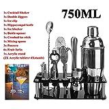 18Pcs 750Ml Kit Camarero, Cóctel De Acero Inoxidable Shaker Set Bebida Mixer Bar Barra De Establecimiento Supplie con El Soporte