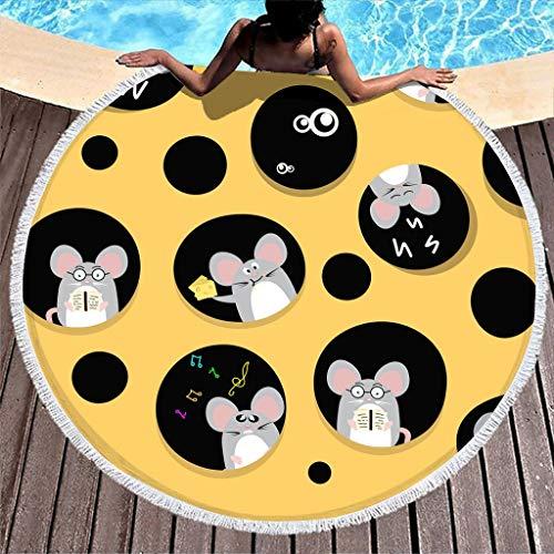 WT-DDJJK Toalla de Playa, Rata glotona, Vestido de Playa de Gran tamaño, Esterilla de meditación para Yoga con círculo a Rayas, fácil de Lavar en Lavadora