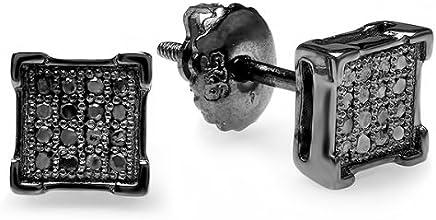 0.10 Carat (ctw) Round Diamond V-Prong Square Shape Mens Hip Hop Iced Stud Earrings 1/10 CT