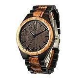 木製の男性用腕時計 木製の手作りアナログクォーツ時計 調整可能な木製ストラップ 軽量木製腕時計