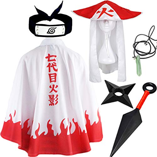 STRDK Naruto Akatsuki / Uchiha Itachi Cosplay Halloween Weihnachten Party Kostüm Naruto Akatsuki Umhang Mantel Yondaime Hokage Jacke Stirnband Ring für Herren Männer rwachsene Ninja Zubehör