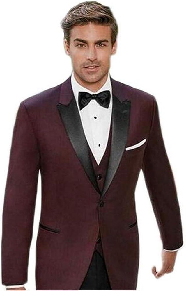 Men's Burgundy Peak Lapel Slim Fit Suit 3PC One Button Wedding Groom Tuxedos
