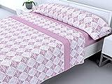 Cabello Textil Hogar - Juego de sábanas térmicas de Pirineo - 3 Piezas - 110 Gr/m2 - Mod. Leilan (Rosa, 150_x_190/200 cm)