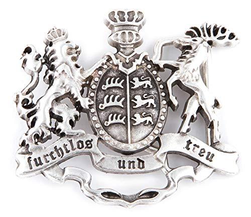 Tini - Shirts Königreich Württemberg Wappen - Baden-Württemberg Gürtelschliesse - Buckle/Gürtelschnalle Tracht : Landeswappen furchtlos und treu - Grösse ca.: 7 x 6.2 cm