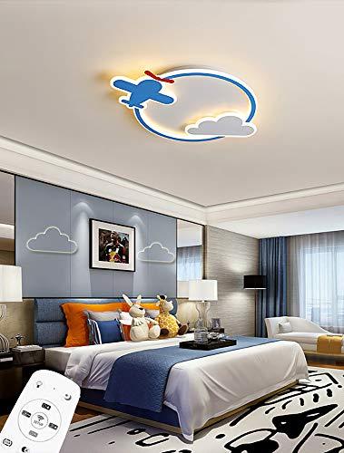 LED Niña Niño Dormitorio Plafon de Techo Regulable Lámpara de Techo con Control Remoto Creatividad Aeronave y Nubes Lámpara Redondo Metal Luz para Cuarto de los Niños Jardín de Infancia 42W D50CM