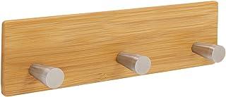 Lesige 粘着フックラック コート/帽子/財布/タオル/衣類用バッグ 木製竹製ボードとステンレススチールフック3個 壁掛け木製ハンガー キッチン/浴室/クローゼット/玄関用