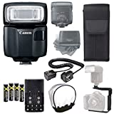 Canon Speedlite EL-100 Flash + Canon Flash Case + 4 High Capacity AA Rechargeable Batteries and Charger + Flash L Bracket + TTL Cord