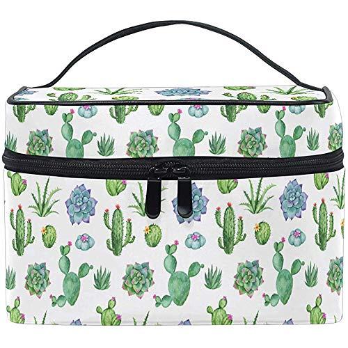 Beau Sac de Maquillage Motif Cactus Vert Brosse de Toilette étui de Train transportant des Sacs de Rangement Portables Box-6BAK-EQ7