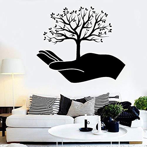 Arbre et main sticker mural Branches Art chambre salle de méditation Yoga Studio décor intérieur porte fenêtre autocollants Mural A2 57x66 cm