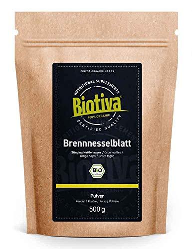 Biotiva Poudre de feuilles d'ortie Bio 500g - feuilles moulues - Herbes d'ortie 100% bio - Mis en bouteille et contrôlé en Allemagne (DE-ÖKO-005)
