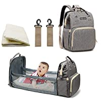 3 in culla portatile da viaggio per i neonati 0~1 anni - Questa elegante borsa per pannolini si trasforma come culla da viaggio, borsa per pannolini e fasciatoio portatile tutto in uno. Viene fornito anche con un materasso impermeabile, offre uno spa...
