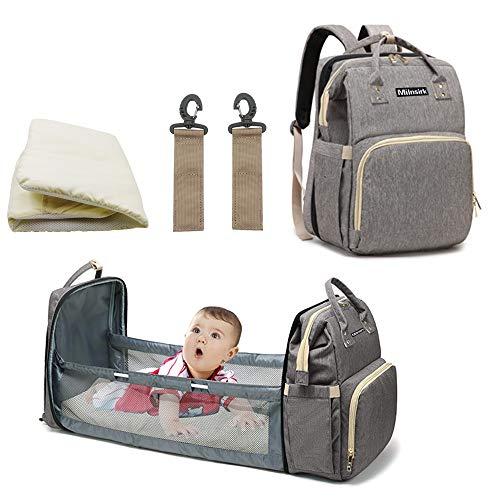 Mochila de mamá multifunción para bebé, bolso impermeable de tela Oxford grande, tumbona de viaje plegable con 3 bolsillos aislantes de botella, 2 ganchos de cochecito, 1 colchón (gris)