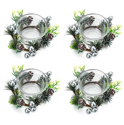 OYATON Christmas Votive Candle Holders with Pinecone Berry Candle Wreath Ring, Decorative Glass Tealight Candle Holder Set of 4 for Home, Wedding, Living Room and Bedroom Decor(Exclude Candles)
