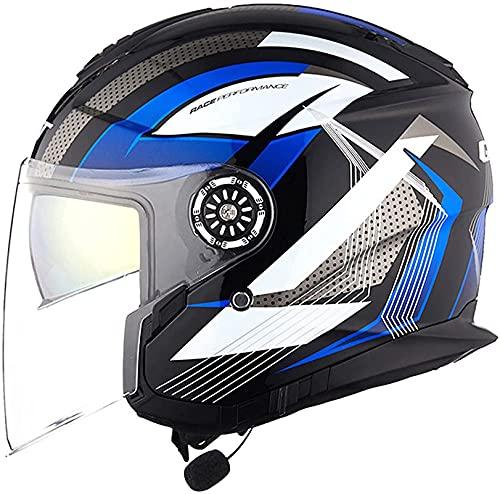 XIAOER Bluetooth Motorcycle Jet Helmets, Cascos de la cara abierta de la motocicleta con lente antivuelco de alta definición, Certificación ECE Medios Cascos con función de respuesta automática A, XXL