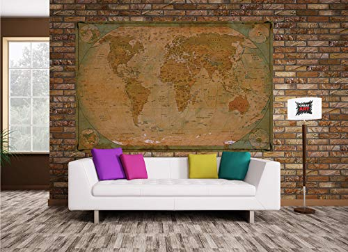 GREAT ART Poster � World Map Antique Style � Picture Decoration Globe Ancient Vintage Card Used Look Atlas Map Old School Image Photo Decor Wall Mural (55x39.4in - 140x100cm) Photo #4