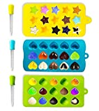 Joyoldelf Molde de Silicona de Moldes para Caramelo y Osos Gominola Chocolate Soap Treat Fondant Crayons Party Forma, Corazones, Estrellas y carcasa – 3 Unidades