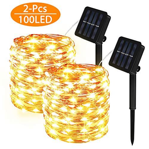 Cadena Luces Solares 2 piezas 100 LED,8 Modes Cadena de Luces de Alambre de Cobre Impermeable para Jardin Exterior, árbol de Navidad, Ventana Valla Bodas-blanco cálido